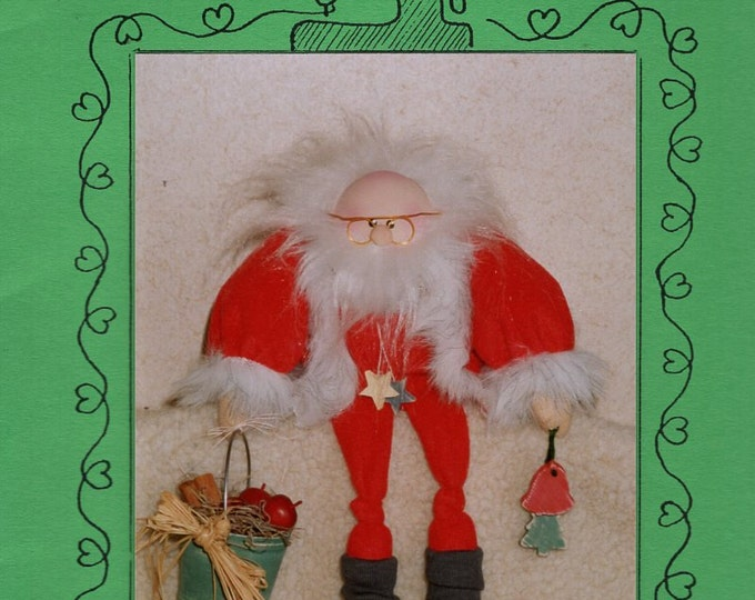 "Wood Yarn Craft Sewing Pattern Free Us Ship Doll Christmas 12"" Tall St. Nick Whimsical 112 1992 Uncut"