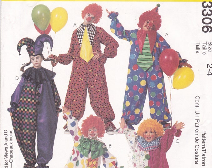 FREE US SHIP Sewing Pattern McCalls 3306  Halloween Costume Toddler Kids Boy Girl  New Jester Clown Jumpsuit Hat Size 2 4 Uncut