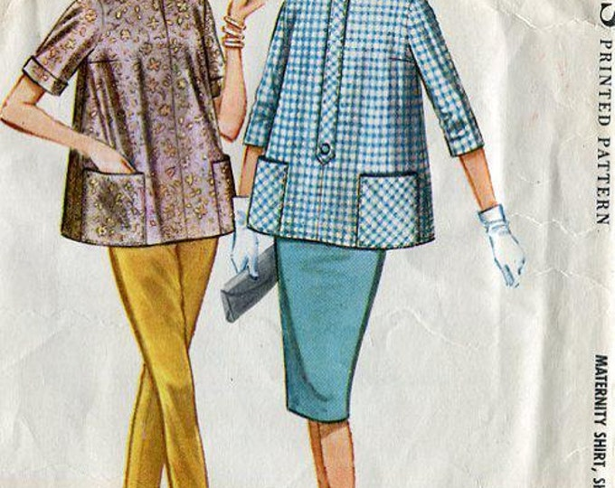 FREE US SHIP Vintage Retro 1960's 60's McCall's 5609 Jackie Maternity Blouse Stove Pipe Pants Skirt Cut Bust 31 Sewing Pattern