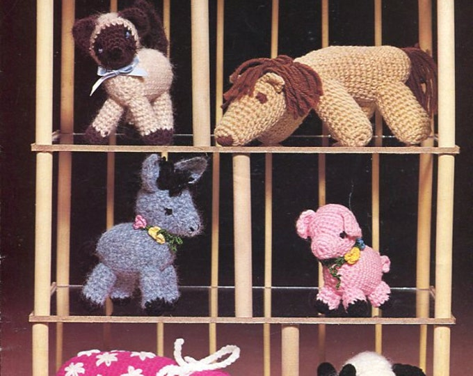 Free Us Ship Crocheted Creatures Vintage Booklet to crochet Toy Animals Cat Horse Siamese Kitten Donkey Leisure Arts 109 1977
