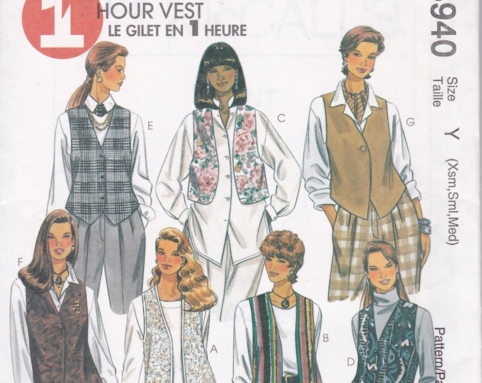 Free Us Ship Sewing Pattern Retro 1990s 90's McCall's 8940 Loose Fitting Vest Cropped Hip Bolero t Size Size 4/14 Factory Folded 1997