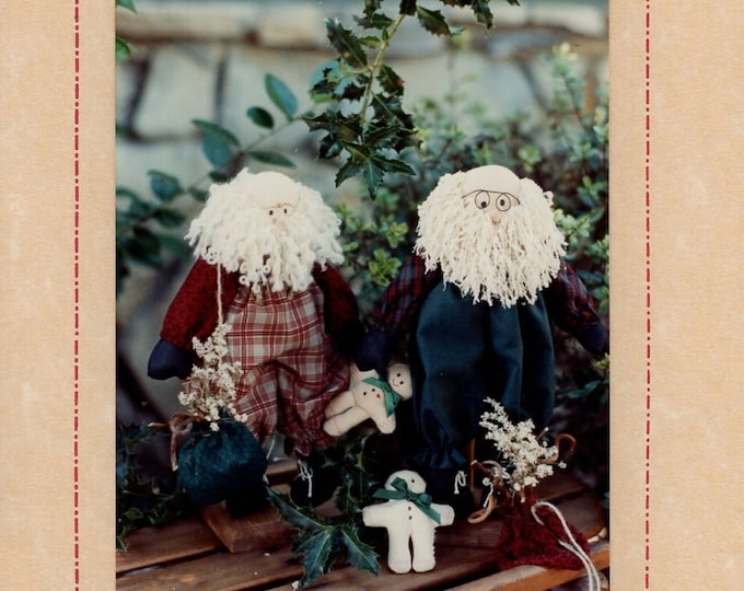 "Tea Party Friends Craft Sewing Pattern Free Us Ship Doll Christmas Unrchin Playmates Nick Primitive Uncut 199012"" Santa Gingerbread Boy"