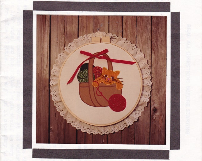 Free Us Ship Sewing Pattern Fabricraft  Mischievous Kitty Cat Basket of Yarn Applique Embroidery Hoop Quilt Vintage Retro 1980s 80s