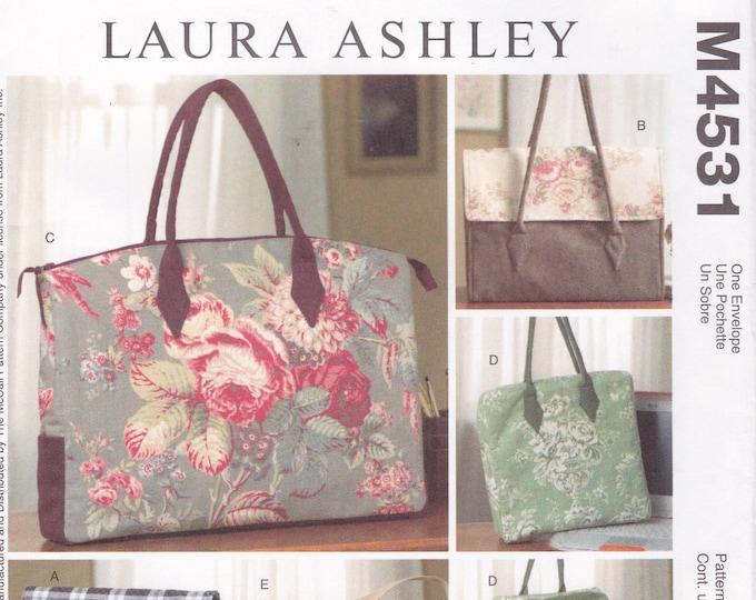 FREE US SHIP McCall's 4531 Messenger Computer Bag Purse Tote Handbag Planner Bag Designer Laura Ashley Sewing Pattern Uncut