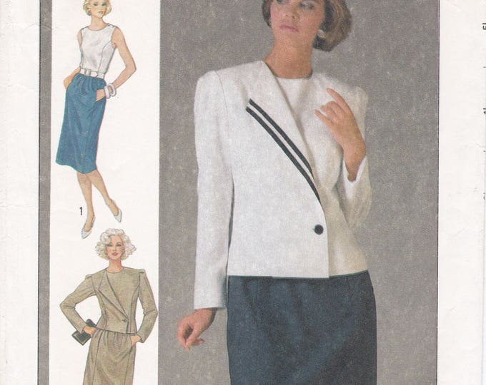 FREE US SHIP Vintage Retro 1980s 80s Sewing Pattern Simplicity 6797  Uncut Button Shoulder Top Skirt Asymmetrical Jacket  Size 10 Bust 32.5