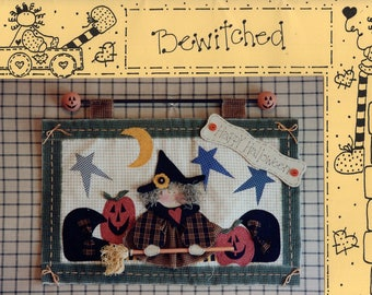Free Us Ship HALLOWEEN Craft Sewing Pattern Knot Doll Collection Unused Friends Bewitched 507 Witch Primitive Wall Quilt 1995 Sherry Connors