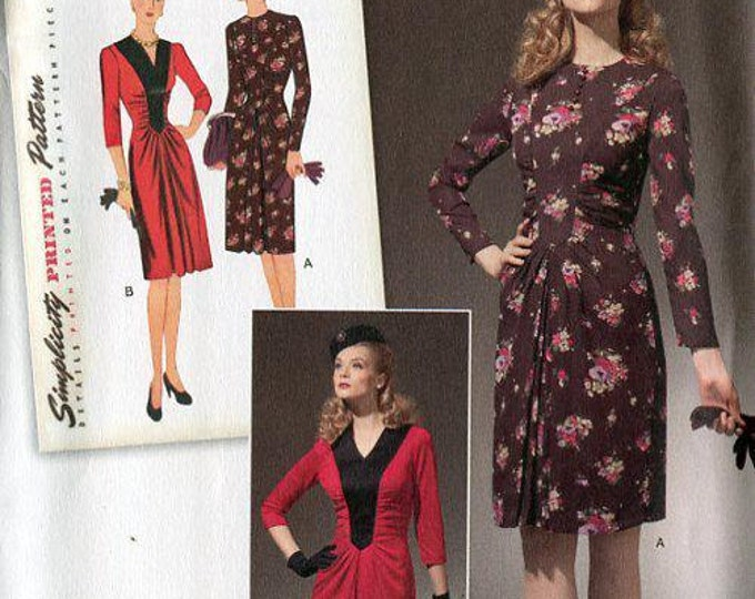Simplicity 1777  Free Us Ship Sewing Pattern Retro 1940s Shirred Dress Reproduction New Uncut Size 6/14 14/22 Bust 30 32 34 36 38 40 42 44