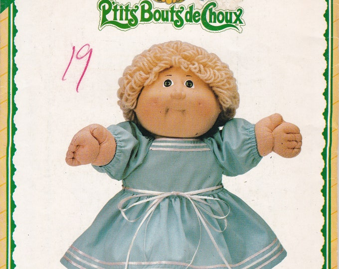 FREE us SHIP Butterick 5357 Sewing Pattern CPK Cabbage Patch Kids Soft Cloth Sculpture doll Clothes Dress New  Uncut 1985