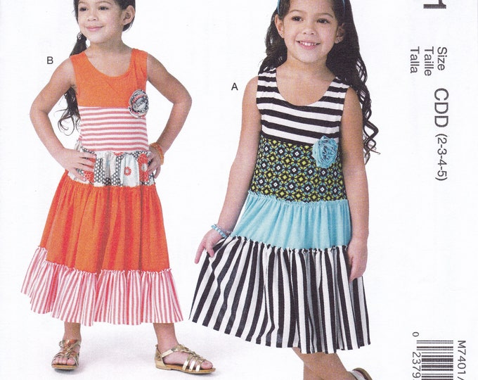 FREE US SHIP McCalls 7401 Cozy toes Girl's Boho Bohemian  Tiered Dress  Uncut New Sewing Pattern Out of Print Size 2 3 4 5