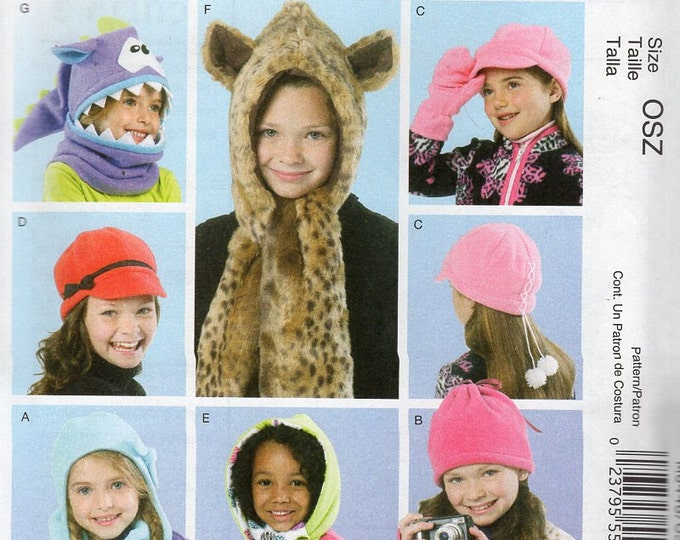 McCall's Fashion Accessories 6448 Sewing Pattern Free Us Ship Girls Fleece Faux Fur Hats Fingerless Gloves Scarves Monster 2005 New