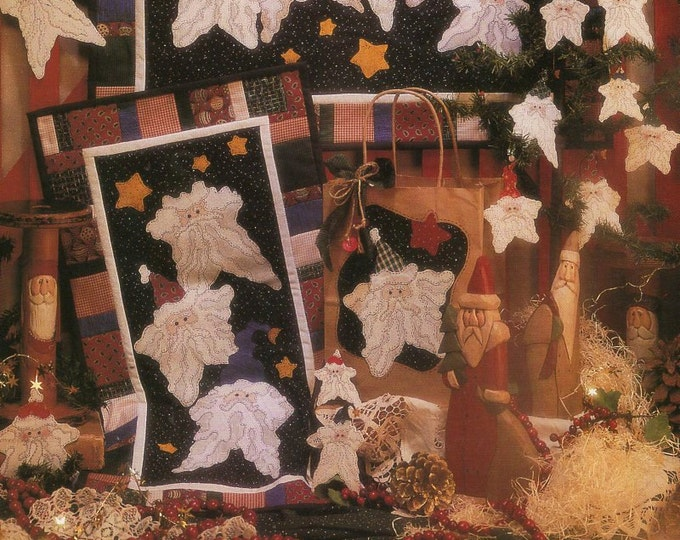 FREE US SHIP Fiber Mosaics Craft Sewing Pattern Christmas Quilt Starlight Santa Bright Pins Ornaments Gift Bags 87001 Uncut 1994