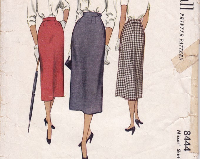 FREE US SHIP McCall's 8444 Vintage Retro 1950s 50s 1951 Gored Pencil Skirt  Waist 23 Sewing Pattern cut 4 pc