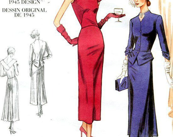 FREE US SHIP Vogue 1136 Vintage Retro 1940s 40s 1945 Reproduction Peplum Dress New Size  14/20 New Sewing Pattern  Bust 36 38 40 42