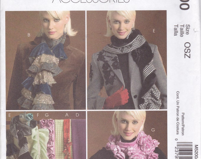 FREE US SHIP McCall's Fashion Accessories 5200 Sewing Pattern Neck Scarf Scarves Rosette High Fashion Funky Craft Uncut Out of Print