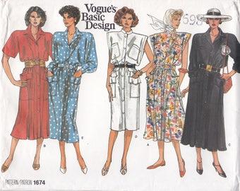 Free Us Ship Sewing Pattern Vogue 1674 Vintage Retro 1980's 80s Basic Design Dress Wide Shoulder Size 14 16 18 Bust 36 38 40 Factory Folded