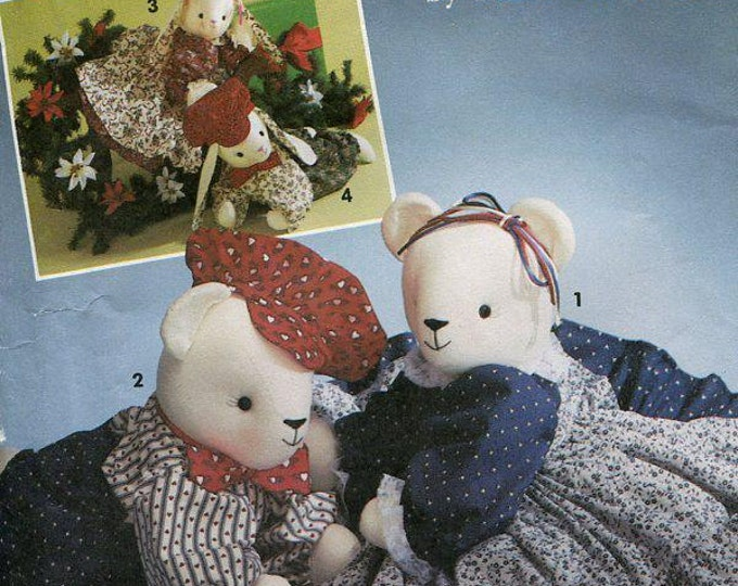 FREE US SHIP Simplicity 7474 Faith Van Zanten Bunny Rabbit Bear dolls & Clothes Sitting or Reclining Uncut 1991 Out of Print Sewing Pattern