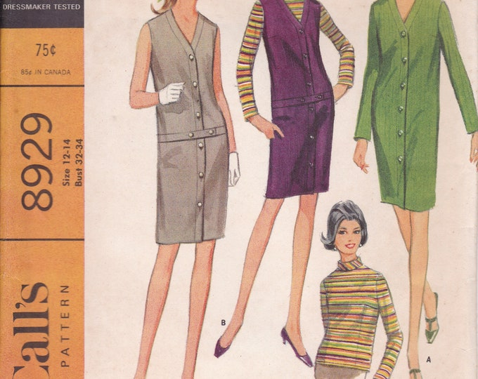 FREE US SHIP McCall's 8829 Vintage Retro 1960s 60s Sewing Pattern Factory Folded Jumper Turtleneck Blouse Mod Size 12-14 Bust 32 34