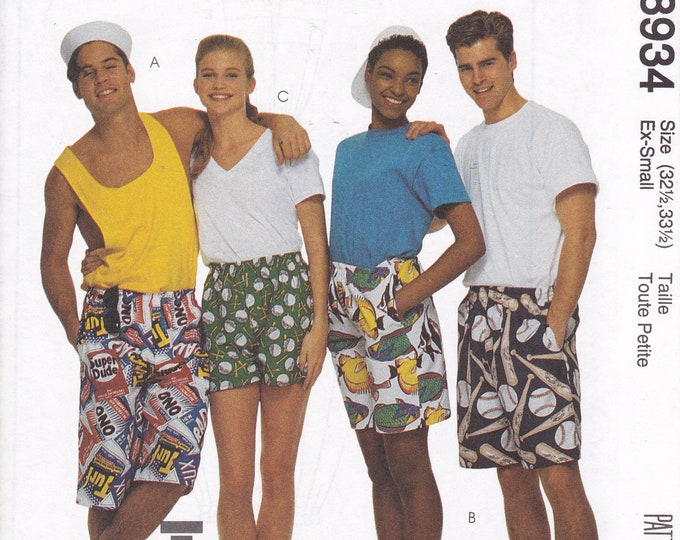 FREE US SHIP McCalls 8934 Sewing Pattern Men Miss Retro 1990s 90's 60 minute Boxer Shorts 3 lengths 1997