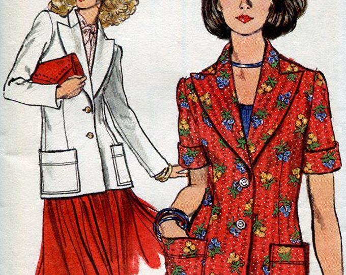 FREE US SHIP Vogue 8040 Vintage Retro 1970s 70s Princess Seams Jacket unlined 10 Bust 32 Wide Lapel Uncut