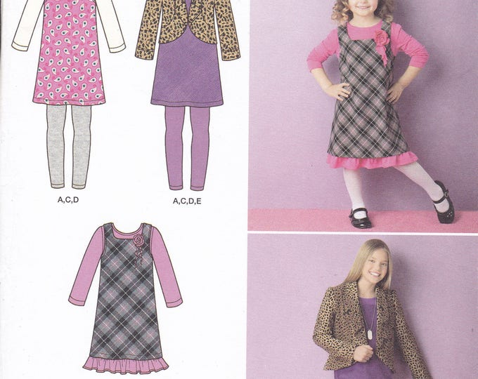FREE US SHIP Sewing Pattern  Simplicity 2156 Girls Dress Jumper Leggings Jacket  Size 3 4 5 6, 7 8 10 12 14 Factory Folded Out of Print