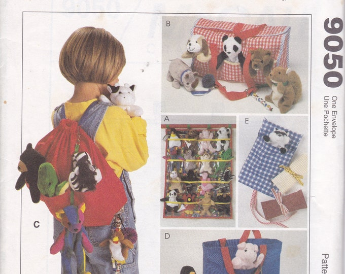 FREE US SHIP McCalls 9050 Sewing Pattern Bean Bag Small Plush Toy animals Organizer Backpack Bag Purse Sleeping Bag Carrier Tote New