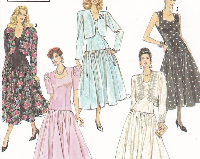FREE US SHIP Simplicity 7004 Sewing Pattern Esentials Drop Waist  Dress Bolero Jacket 1990 Size 4 6 8 10 12 Bust 29.5 30.5 31 32.5 34 Uncut