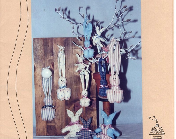 Free Us Ship Down Memory Lane Door Knob Hang Me Bunnies Bunny Rabbit Big Ears Doll Whimsey Folk Art Easter Christmas Unused Sewing Pattern