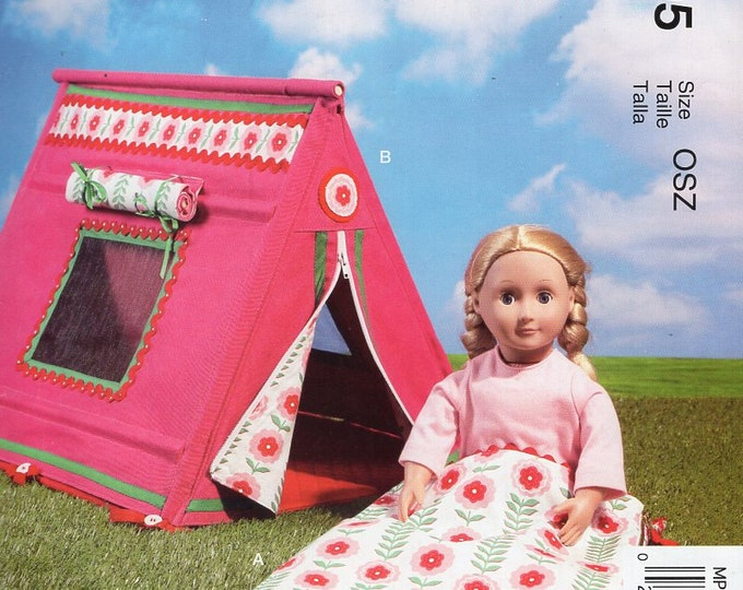 """McCall's 295 7268 Free Us Ship Out of Print  18"""" Doll Camping Glamping Tent & Sleeping Bag New Sewing Pattern Fits American Girl Size"""