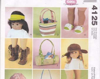 "FREE US SHIP McCalls 4125 Gotz American Girl 18"" Doll Hat Shoes Purse Uncut Factory Folded 2003 Out of Print"