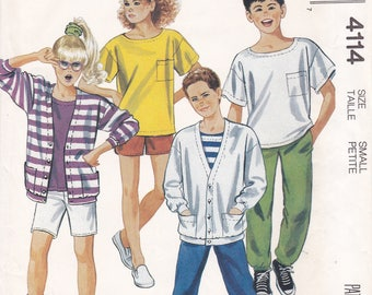 FREE US SHIP McCall's 4114 Boy Girl Casual Separates Wardrobe Vintage Retro 1980s 80s Size 7 Uncut Sewing Pattern T Shirt Shorts Pants