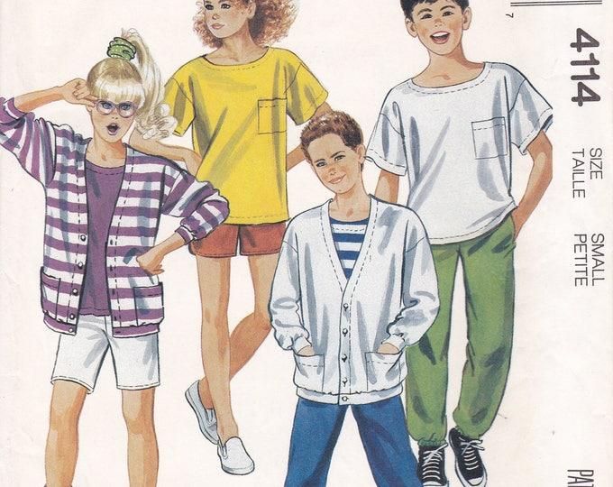 FREE US SHIP McCall's 4114 Boy Girl Casual Separates Wardrobe Vintage Retro 1980s 80s Size 7 Uncut Sewing Pattern T Shirt Shorts Pants