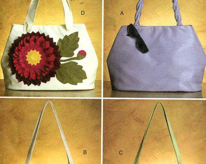 Free US Ship Vogue 8642 Sewing Pattern Accessories Fabric Purse Tote Hand Bag Handbag New Old Store Stock Out of Print Factory Folded
