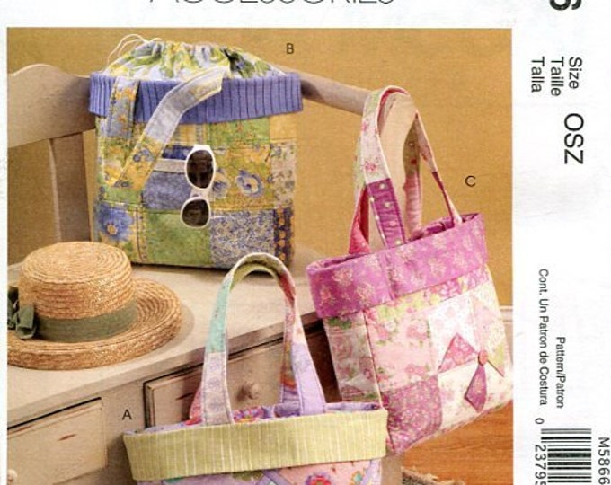 Free Us Ship Sewing Pattern McCall's 5866 Whistlepig Creek Purse Totes Bag with Drawstring Out of Print