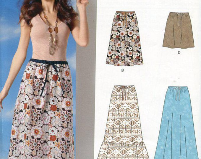 FREE US SHIP New Look 6054 Drawstring Bohemian Skirts Maxi Size 4/16 Out of Print Sewing Pattern Waist 22-30 Plus Size