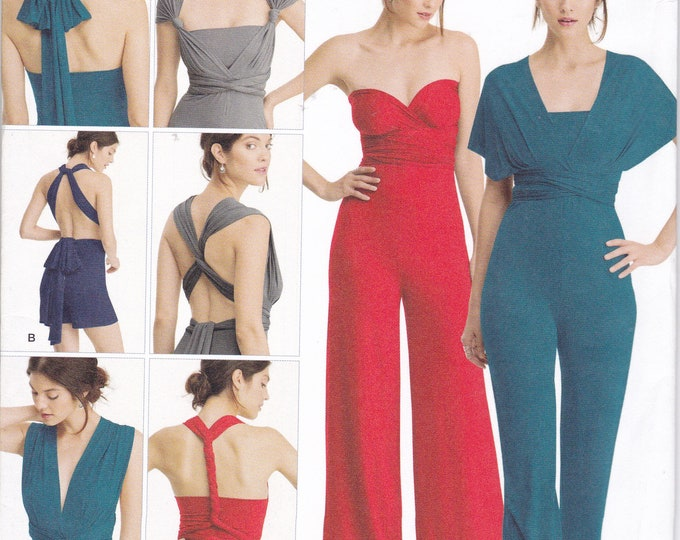 085bd27c2893a6 FREE US SHIP Simplicity 8095 Sewing PatternJumpsuit Sash wrap Uncut Size 4 26  Bust 29