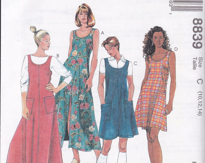 Free Us Ship McCalls 8839 Sewing Pattern Dress Side Button Jumper Size 4 6 8 10 12 14  Bust 29 30 32 34 36 Retro 1990s 90's new uncut