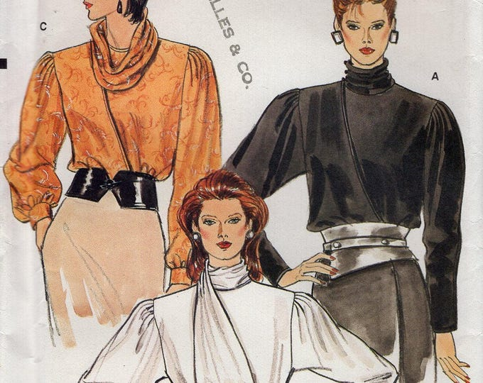 Free Us Ship Vogue 8780 Retro 1980's 80's Shoulder Pad Blouse Wrap Inside Tie Scarf Neck Sewing Pattern Uncut ff Size 8 or 10 Bust 31.5 32.5