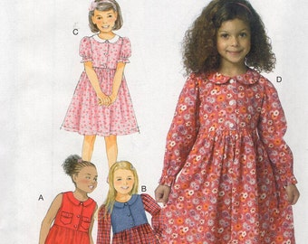 Free Us Ship Sewing Pattern Butterick 6084 High Waist Loose Fitting Modest dress Uncut Size Girls 2 3 4 5, 6 7 8