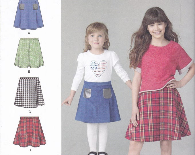 FREE US SHIP Sewing Pattern  Simplicity 1290 Girls Flared Pocket Easy Skirt Size 3 4 5 6, 7 8 10 12 14 Factory Folded Out of Print