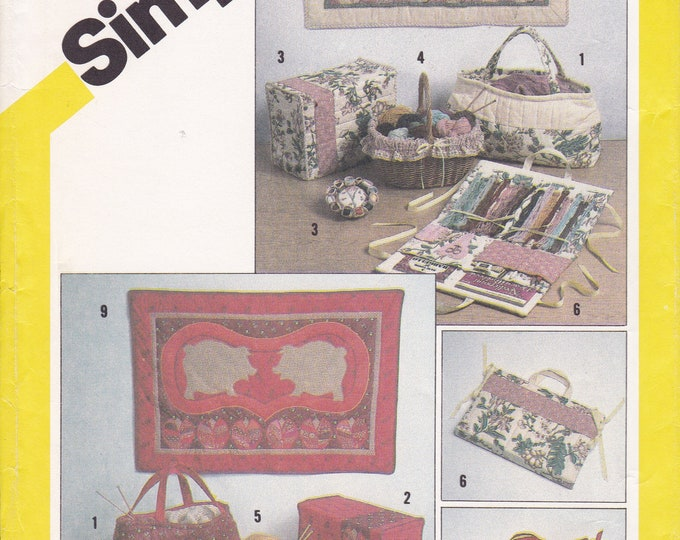 FREE US SHIP Simplicity 5311 Craft Sewing Pattern Organizer Room  Accessories Basket Machine Cover Book Uncut New Pig Rabbit Quilt Tote