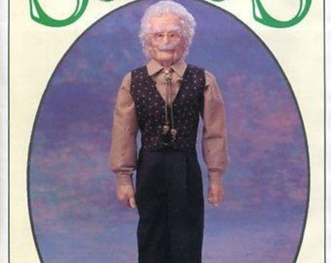 """FREE US SHIP Syndee's Craft Ltd 1995 Doll 24"""" Grandpa New Old Store Stock Sewing Pattern"""
