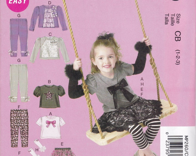 Free Us Ship Sewing Pattern McCall's 260 6593 Toddler Girl Top Leggings Arm Warmers Skirt wardrobe Size 1 2 3  New Unused