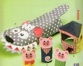 Free Us Ship Kwik Sew 4048 Child's Boy or Girl 3 Little Pigs Wolf Hand Puppets House Fairy Tale Uncut Sewing Pattern ff