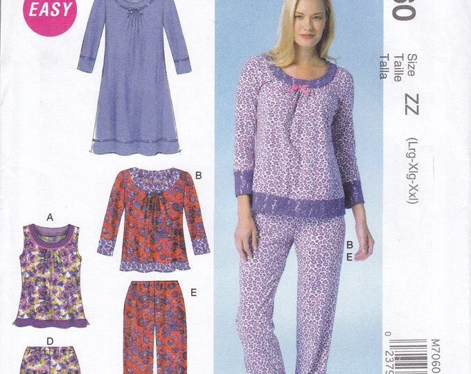 FREE US SHIP McCall's 7060 Sewing Pattern  Pj's Pajamas Nightshirt Shorty Nightgown Size 4/14 16/26 Bust 29 30 32 34 36 38 40 42 44 46 48