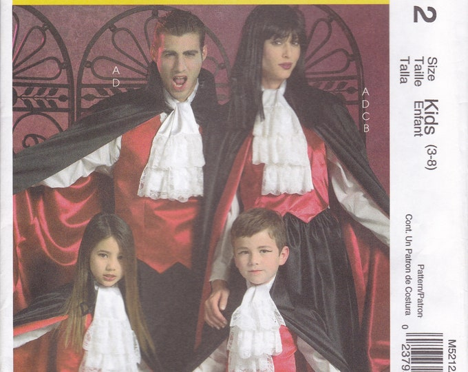 FREE US SHIP McCalls 5212 Sewing Pattern Family Adult S-Xl Kids 3/8 Haloween Costume Cape Jabot Ascot Dracula Goth Vampire Mom Dad Boy Girl