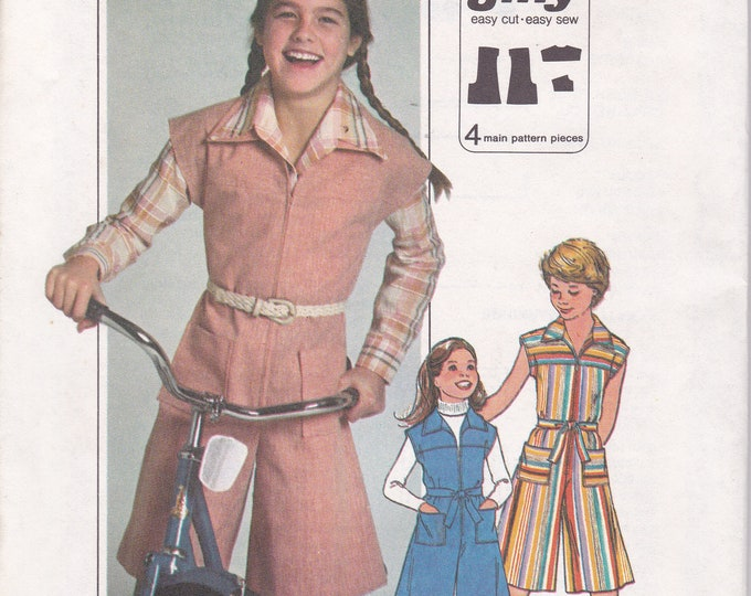 FREE US SHIP Simplicity 8051  Uncut Vintage Retro 1970s 70s Sewing Pattern Size 14 Romper Culottes Jumpsuit  Factory Folded