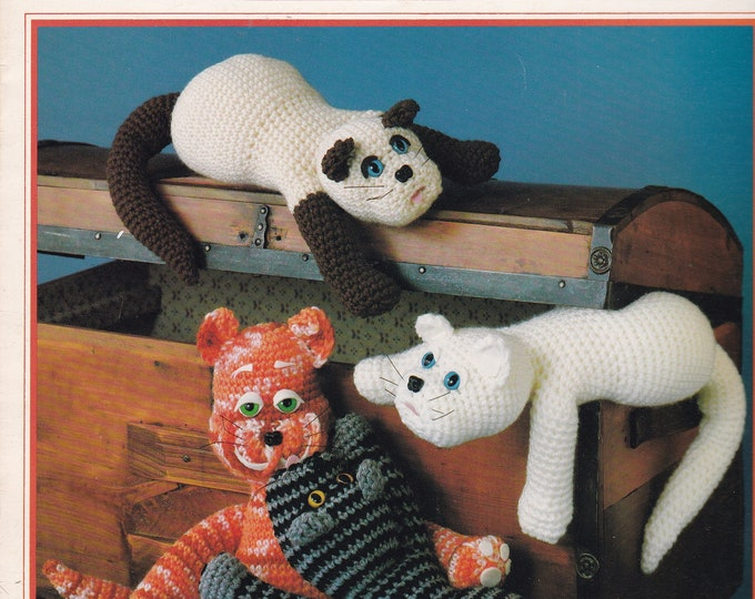 Free Us Ship Vintage Crochet Pattern Book Leaflet Needleworks 120 Cats Toy Animal Plush Designer Sue Penrod