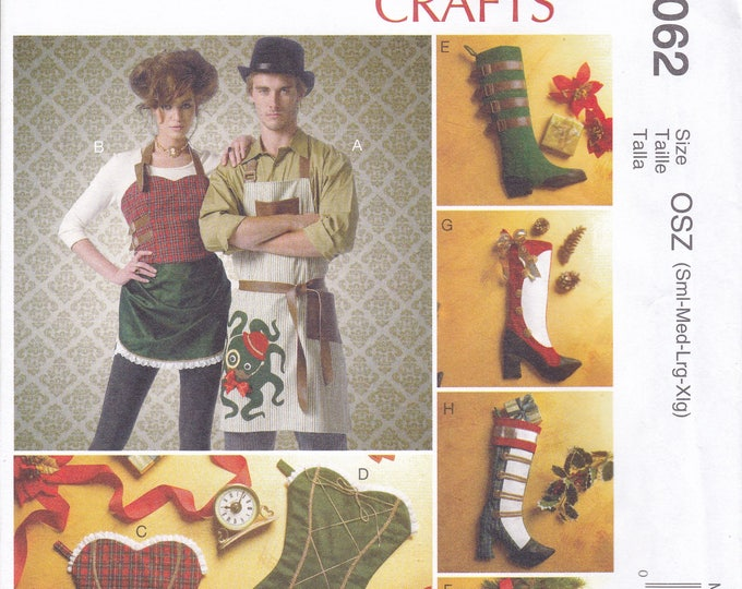 Free Usa Shipping Sewing Pattern McCalls 7062 Goth Steampunk Bustier Apron Victorian Christmas Stockings Size 8-22 Bust 36 38 40 42 44 Uncut