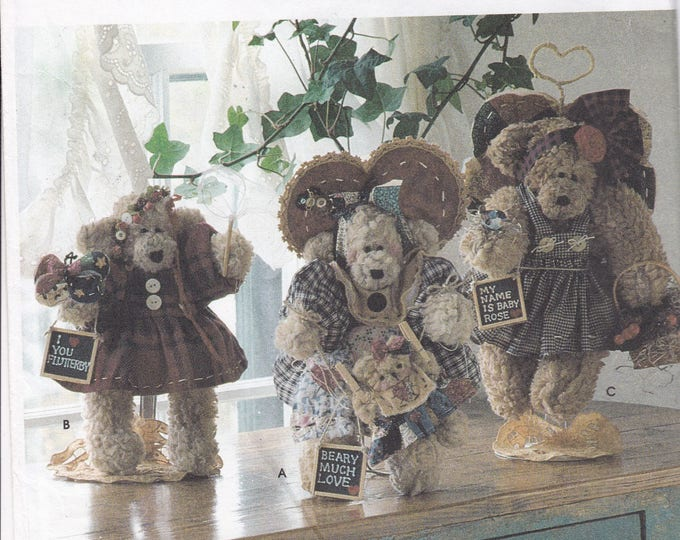 """FREE US SHIP Simplicity 7004 Sewing Pattern Dream Babies N Stitches 12"""" Bear Dolls & Clothes Uncut 1996"""