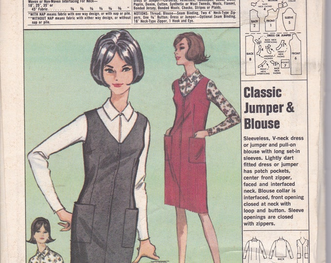 FREE US SHIP Fels Mail order P-66  1960's 60s Sewing Pattern  Dress Jumper Unused Size 14 16 Bust 3436